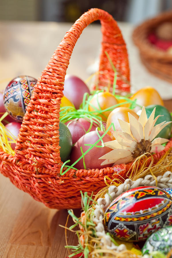 Easter Painted Eggs In A Basket Stock Photography