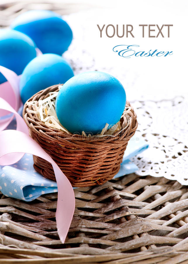Download Easter Eggs in the Basket stock image. Image of border - 29854729