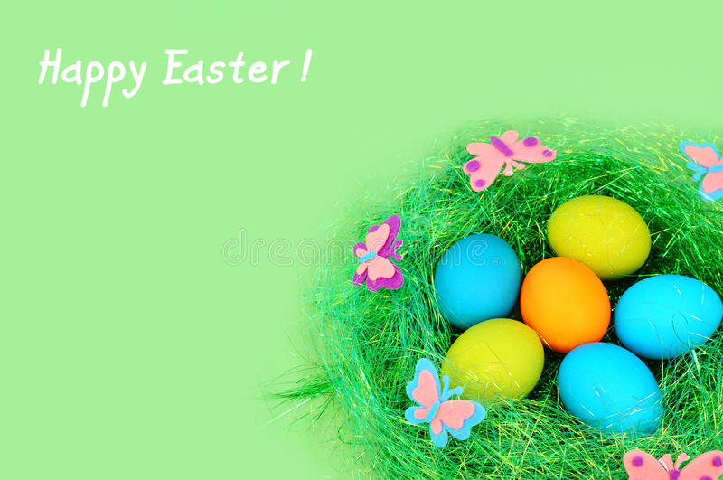 Easter Painted Eggs On A Green Background Royalty Free Stock Photos
