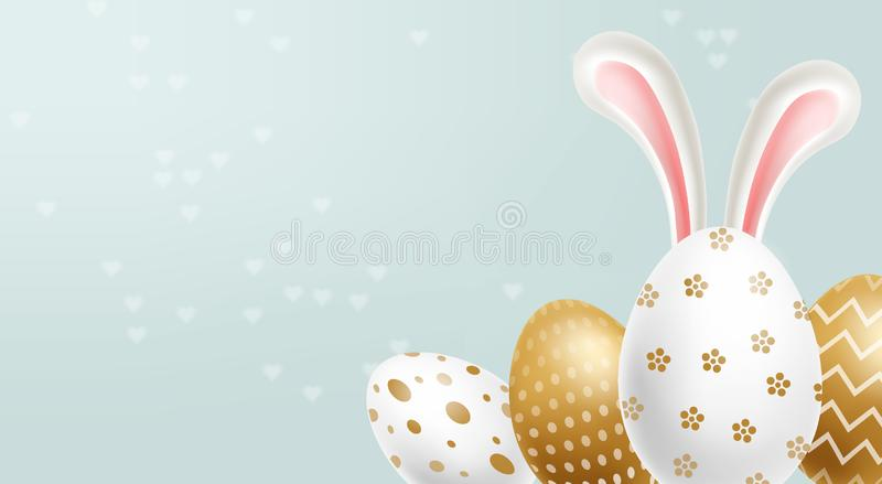 Easter painted golden eggs Vector realistic collection. Abstract ornamented cute design. 3d detailed sets. Easter painted golden eggs Vector realistic collection vector illustration