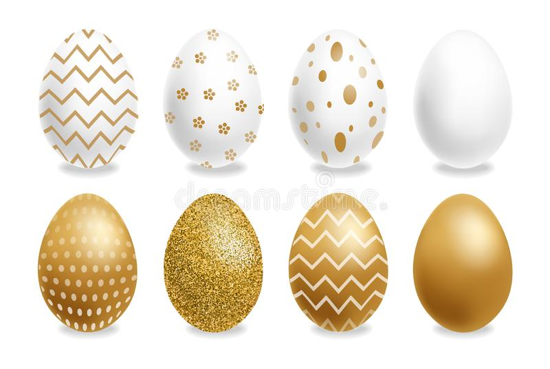 Easter painted golden eggs Vector realistic collection. Abstract ornamented cute design. 3d detailed sets. Easter painted golden eggs Vector realistic collection royalty free illustration