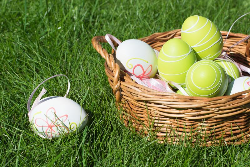 Easter painted pastel color eggs with ribbon in basket on green grass. Sunny day. Close up. Selective focus. royalty free stock photo