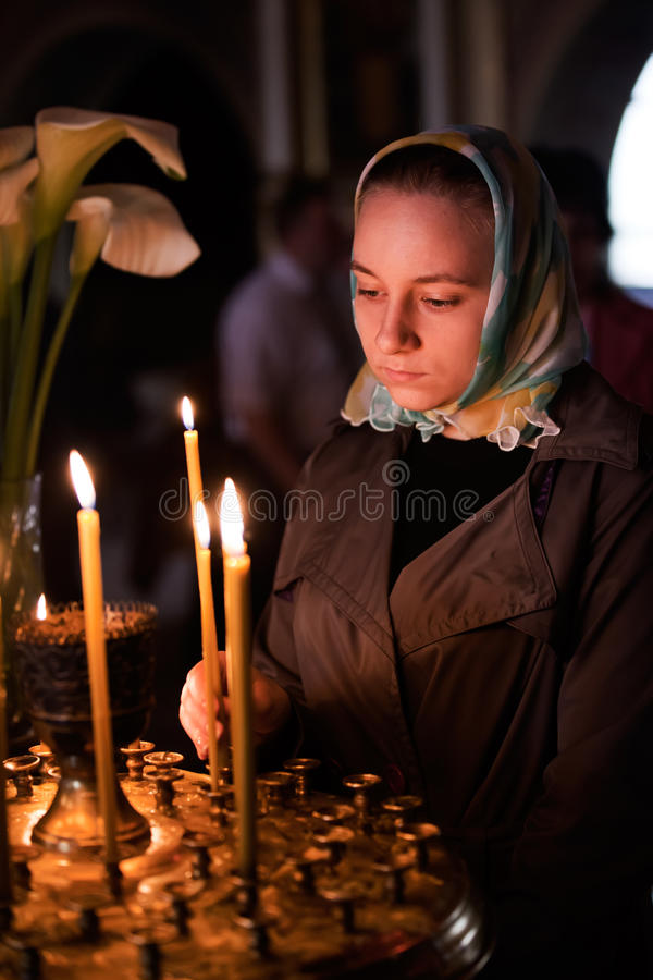 Easter, Parishioners Of The Orthodox Church. Royalty Free Stock Photo