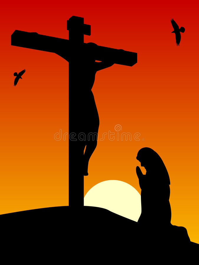 Easter - Passion of Christ. Good Friday: Mary praying by the cross of Jesus crucified on the hill of Calvary. Useful also as Easter greeting card. You can find