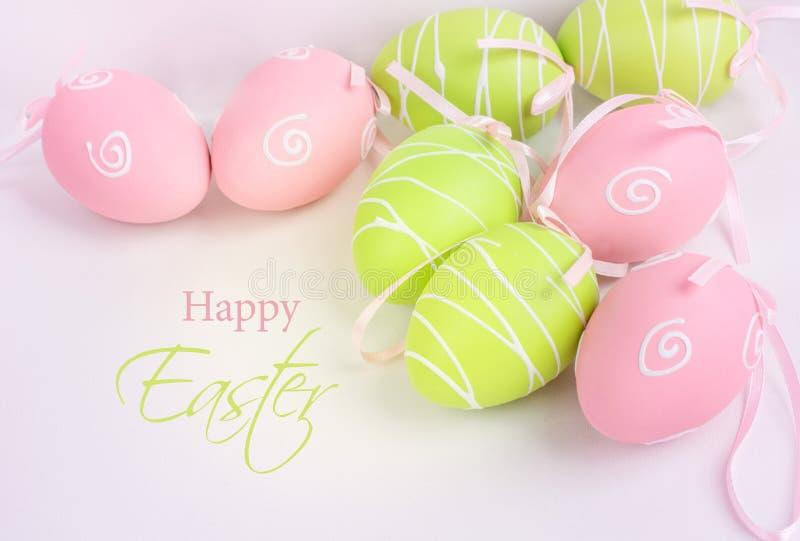 Easter pastel eggs on white background. royalty free stock photos