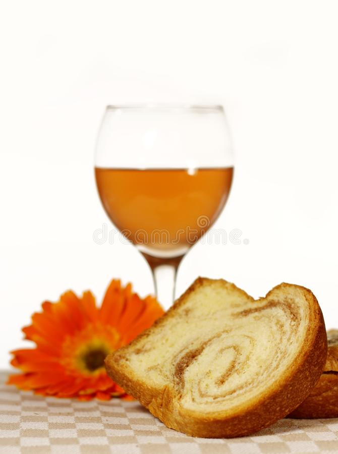 Easter pastry and wine royalty free stock photo