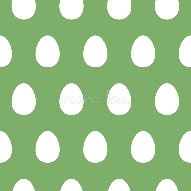 Easter pattern with eggs. Simple ornament, white and green color. stock illustration