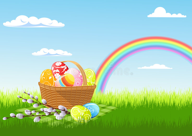 Easter picnic and rainbow stock illustration