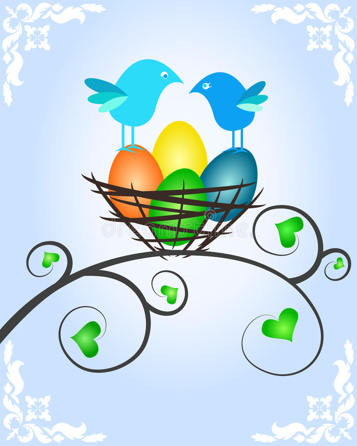 Easter picture with birds vector illustration