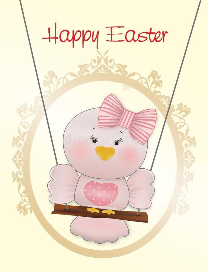 Easter Pink bird in swing vector illustration