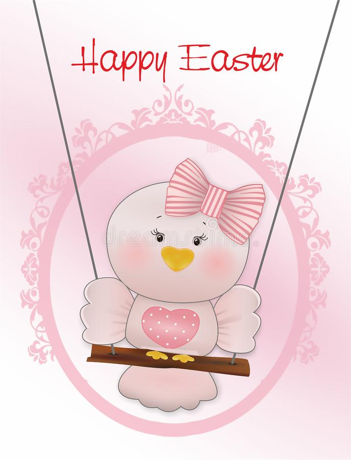 Easter Pink bird in swing royalty free illustration