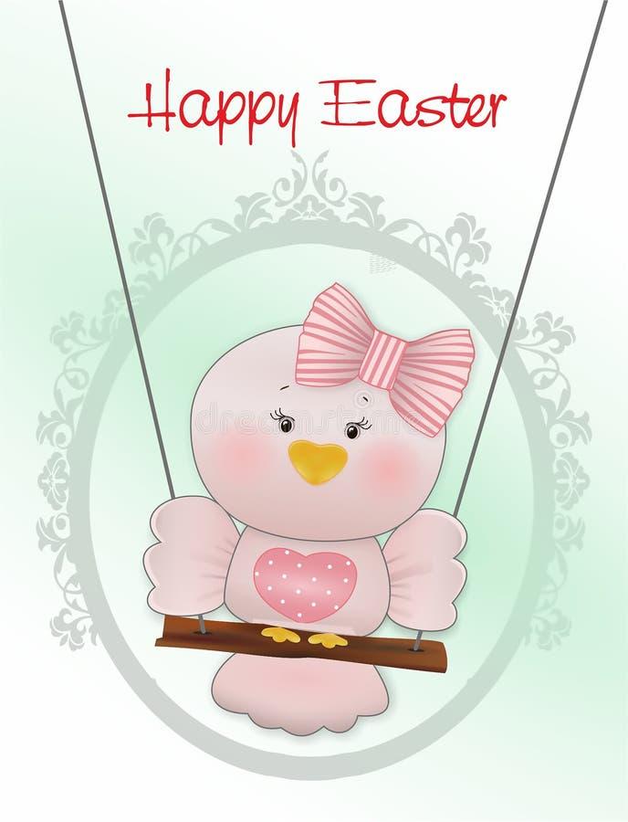 Easter Pink bird in swing stock illustration