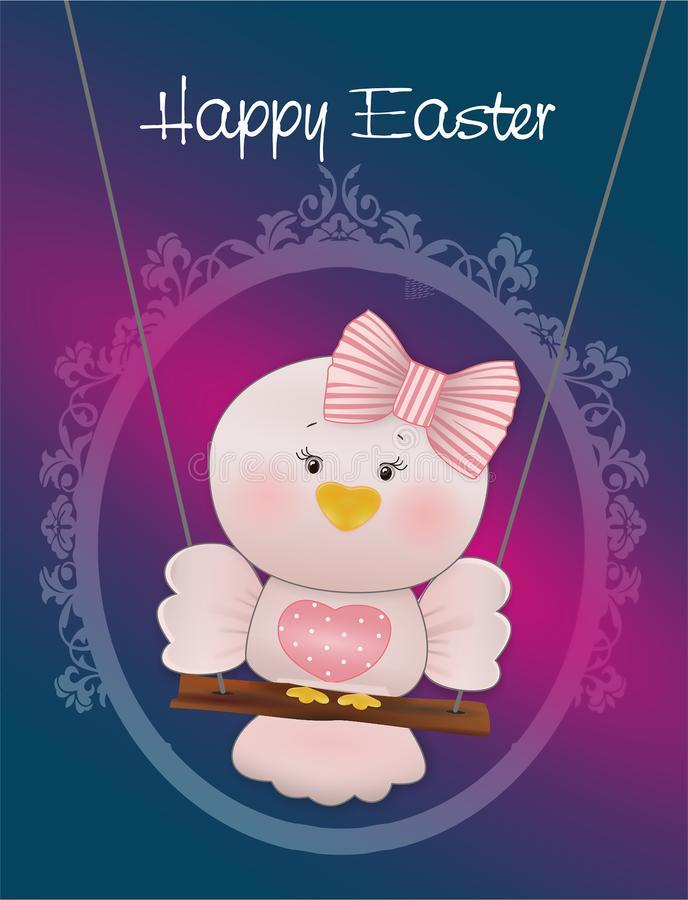 Easter Pink bird in swing stock images