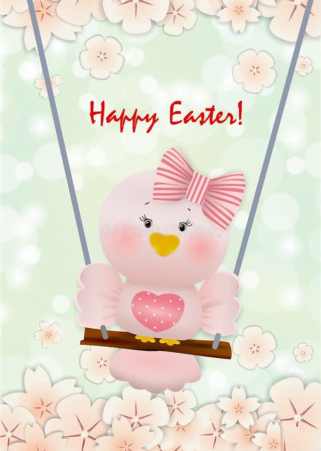 Easter Pink bird in swing stock photo