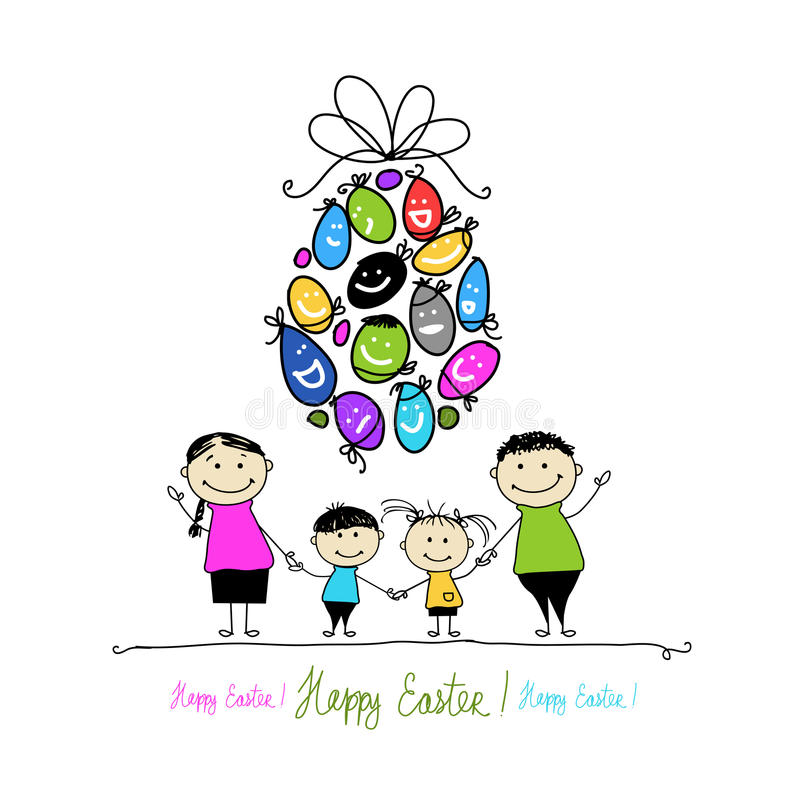 Download Easter Postcard With Family For Your Design Stock Vector - Image: 31535143