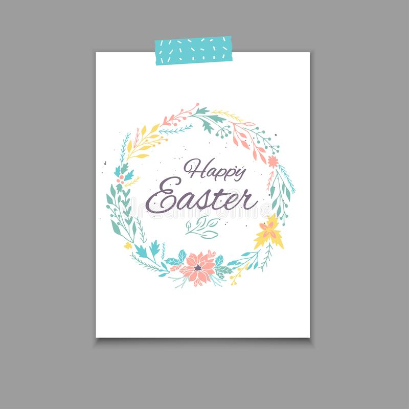 Easter Postcard Template  Hand Drawn Illustration Stock
