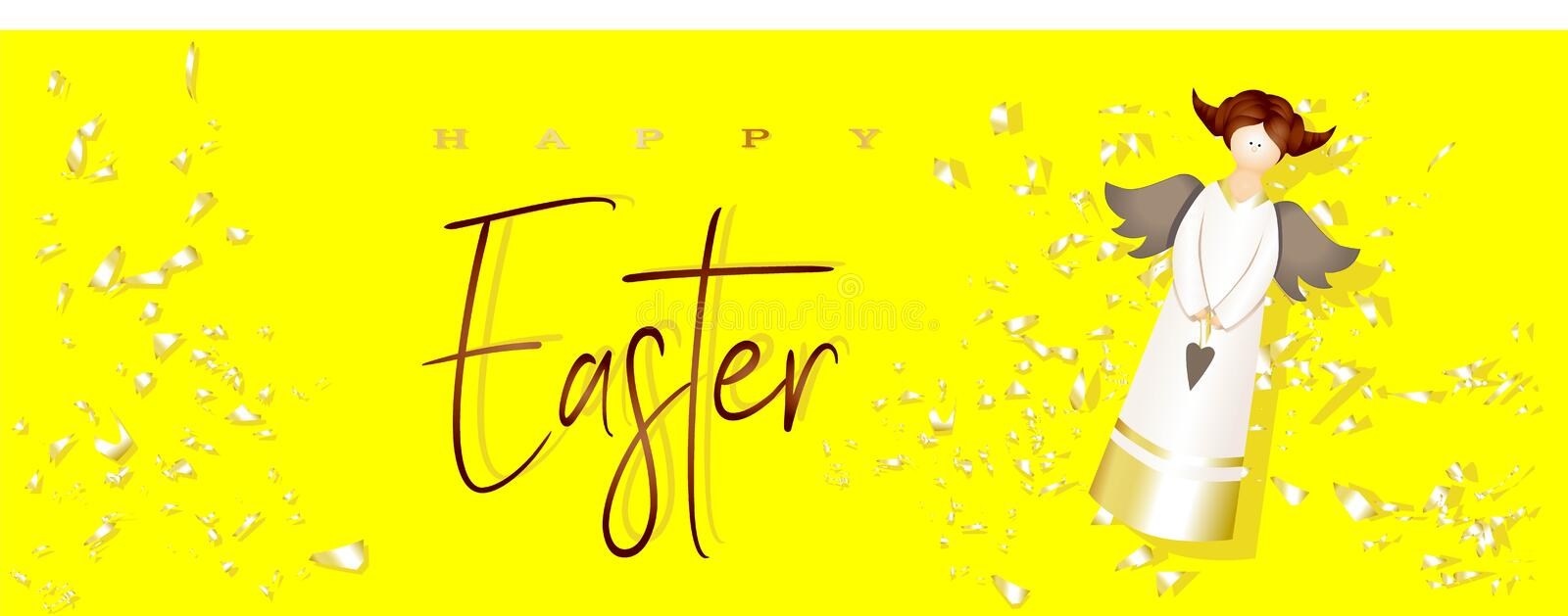 Easter poster and banner template with angel on a bright yellow background. Congratulations and gifts for Easter. Promotion and stock illustration