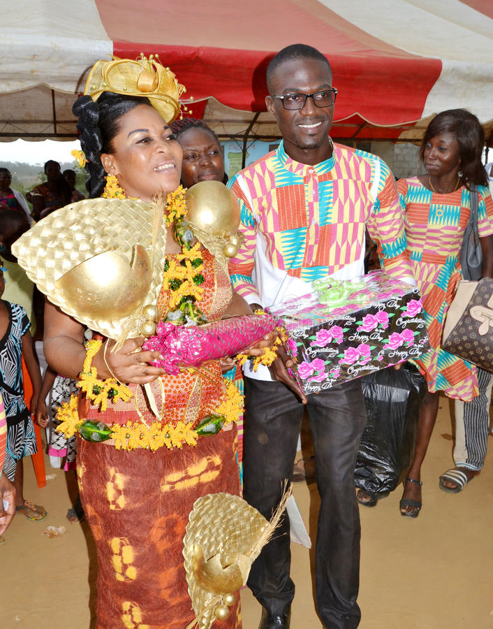 Easter with the queen mother Baoulé. Each year, at the approach of Easter in Côte d`Ivoire, the Baoulé people choose this time to celebrate Easter with royalty free stock photos