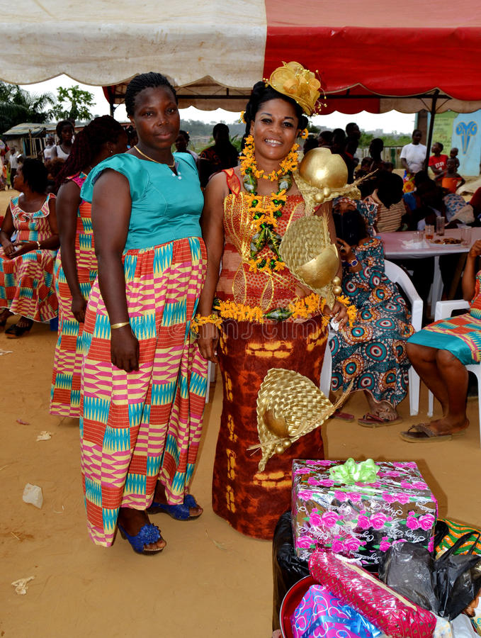 Easter with the queen mother Baoulé. Each year, at the approach of Easter in Côte d`Ivoire, the Baoulé people choose this time to celebrate Easter with stock photos