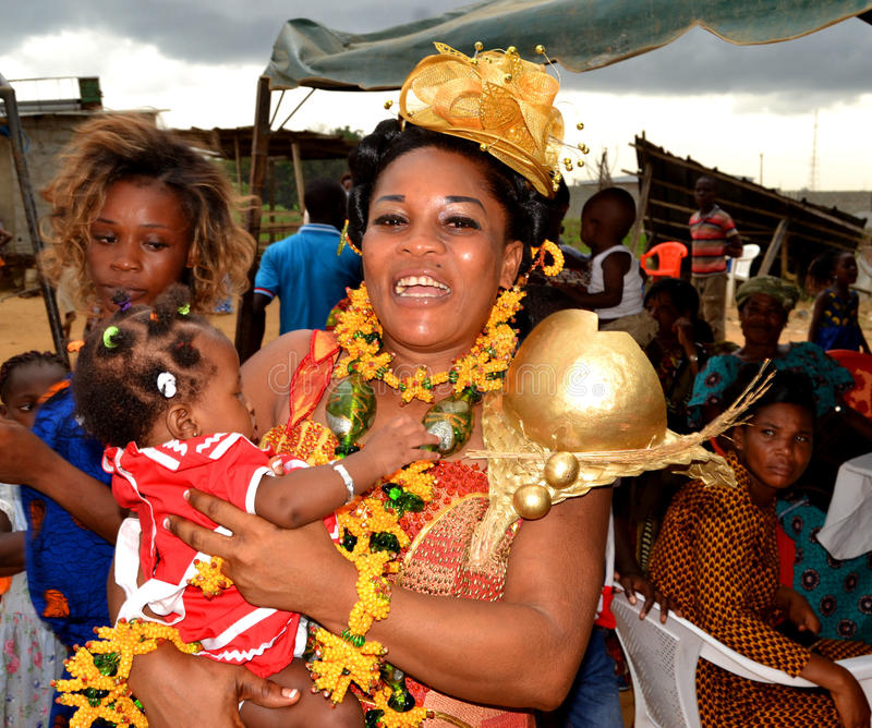 Easter with the queen mother Baoulé. Each year, at the approach of Easter in Côte d`Ivoire, the Baoulé people choose this time to celebrate Easter with royalty free stock images