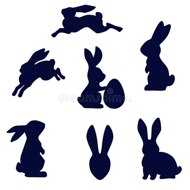 Easter rabbit black silhouette vector isolated on white. Easter running, looking up and standing with egg rabbits black silhouette. Set of Easter bunny outlines royalty free illustration