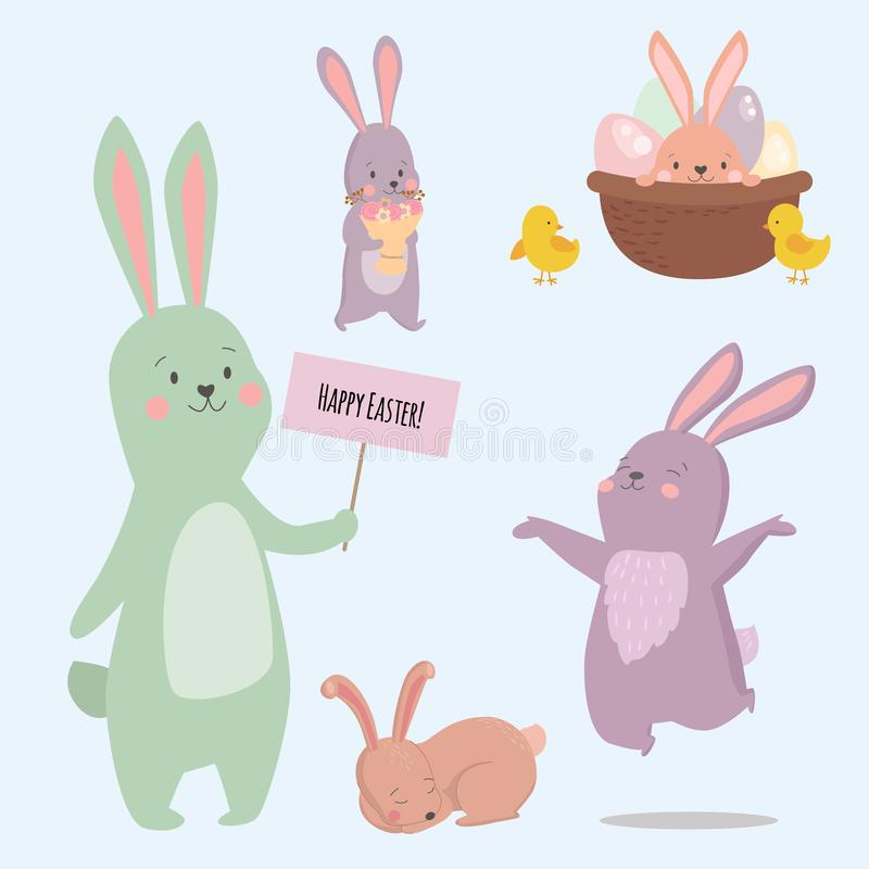 Easter rabbit character bunny different pose vector cute happy animal set illustration. royalty free illustration