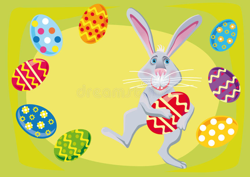 Easter rabbit with easter eggs vector illustration