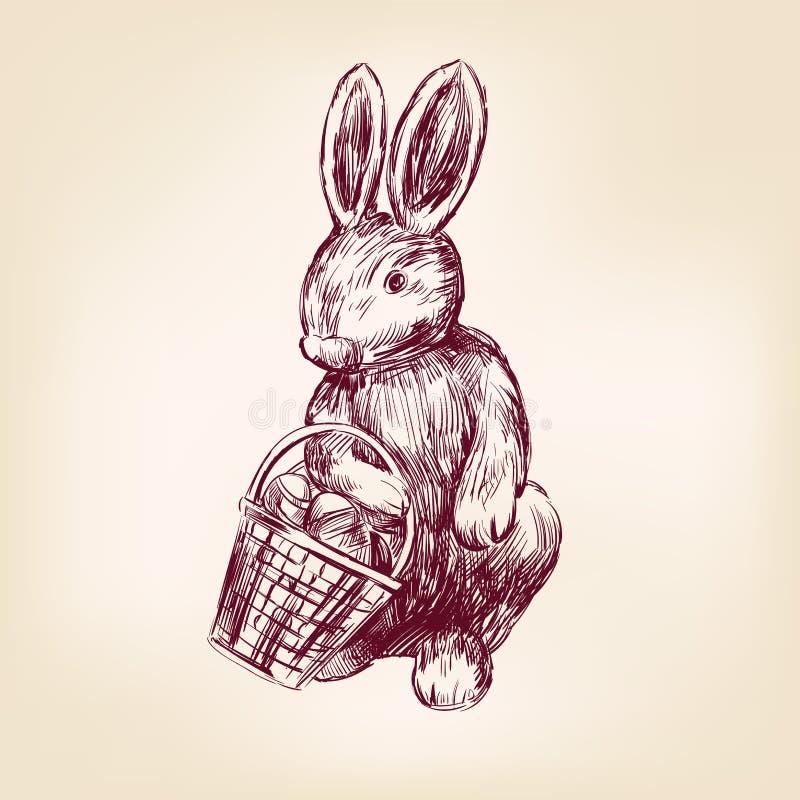 Easter rabbit hand drawn vector vector illustration