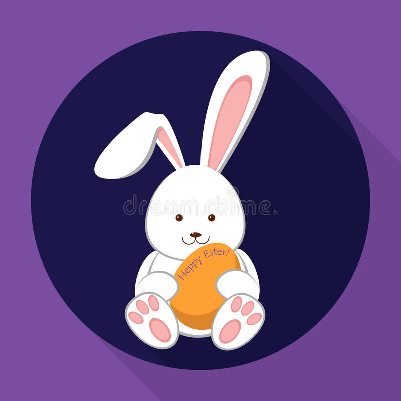 Easter rabbit holding an egg. Flat illustration. royalty free stock image