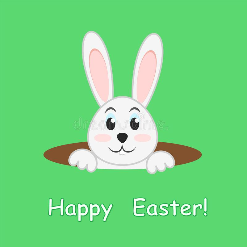 Easter rabbit in hole on green background, greeting Happy Easter vector illustration