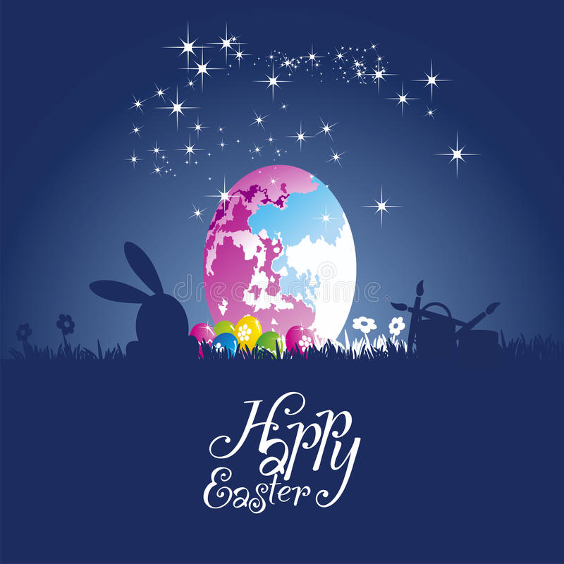 Easter rabbit moon colored egg blue background stock illustration