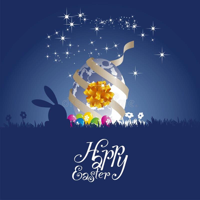 Easter rabbit moon egg gift blue background stock illustration