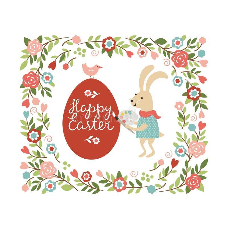 Easter rabbit paint the egg. Cartoon easter rabbit paint the egg