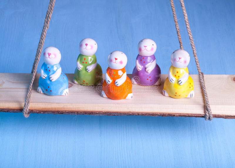 Easter rabbits on a bright background.  royalty free stock photo