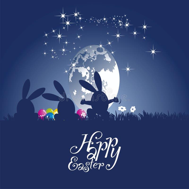 Easter rabbits dance moon egg blue background vector illustration