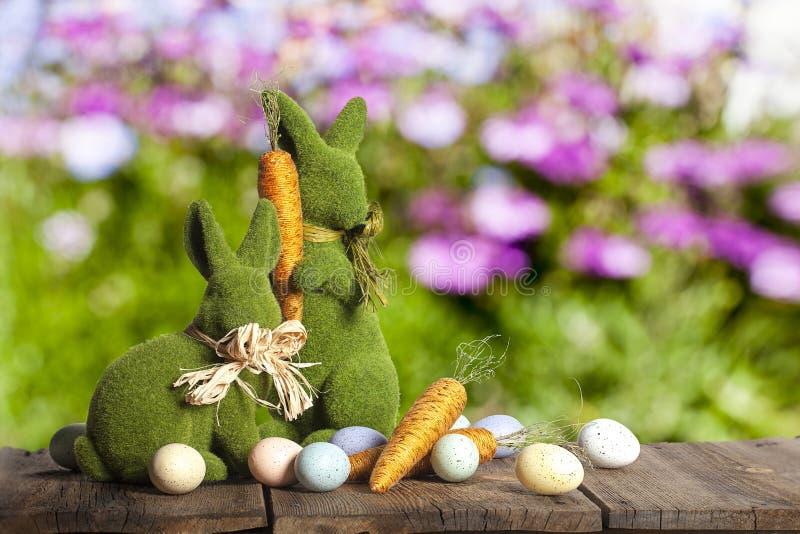 Easter Rabbits Eggs Carrots stock photo