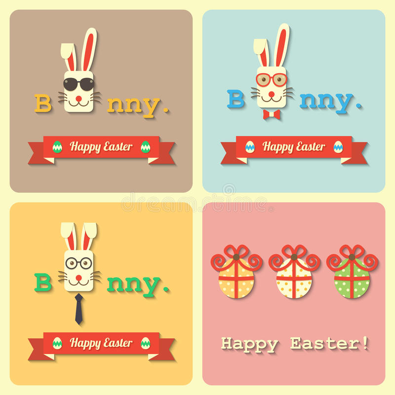 Easter rabbits and eggs vector illustration