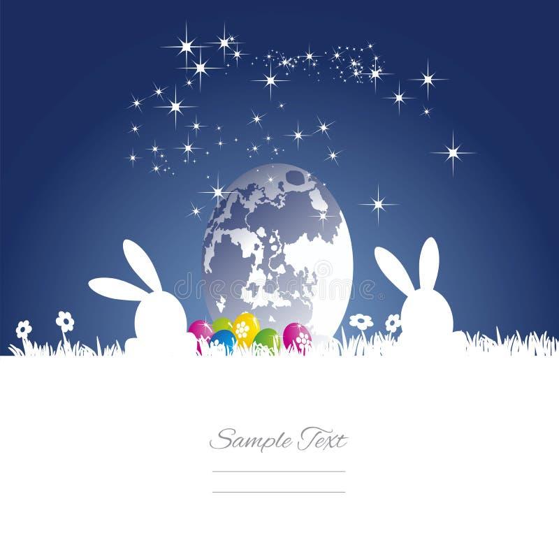Easter rabbits moon egg blue white background vector illustration