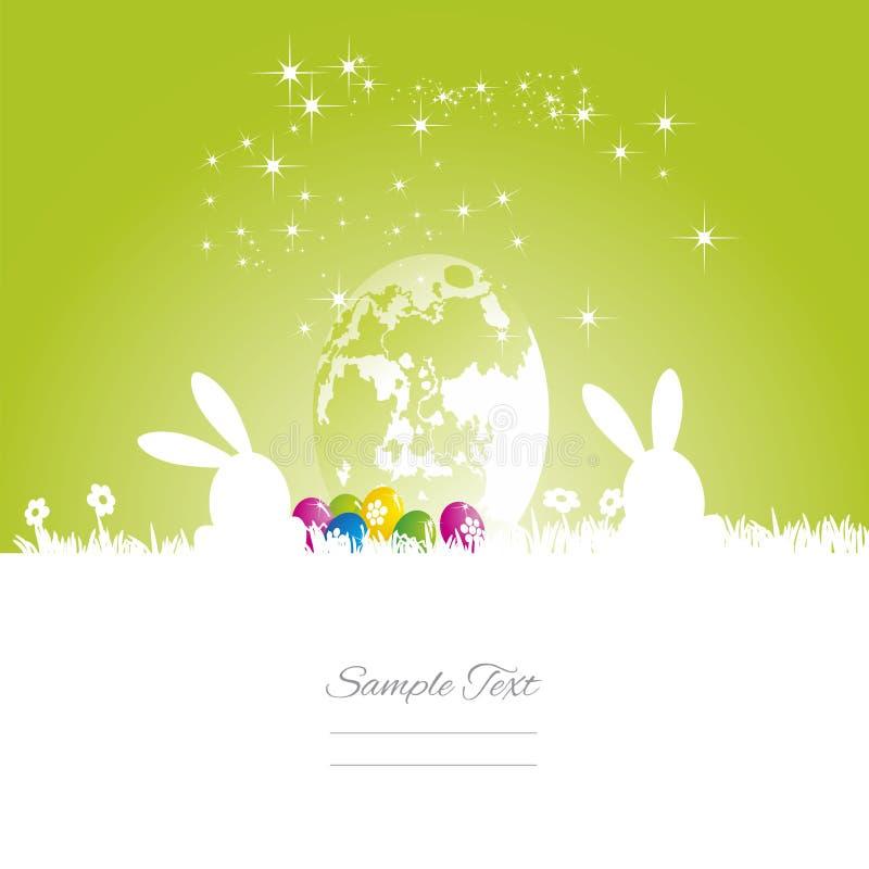 Easter rabbits moon egg green white background vector illustration