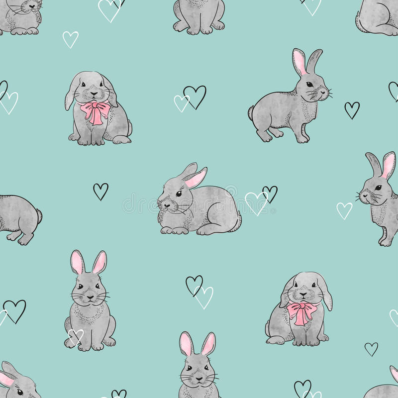 Easter rabbits seamless pattern. Vector background with cute watercolor bunnies on blue vector illustration
