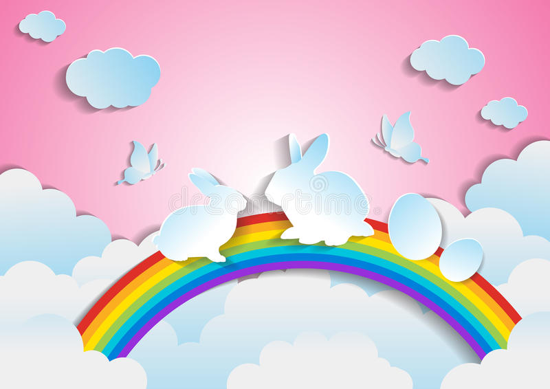 Easter with rainbow and sky.paper art style. Vector stock illustration