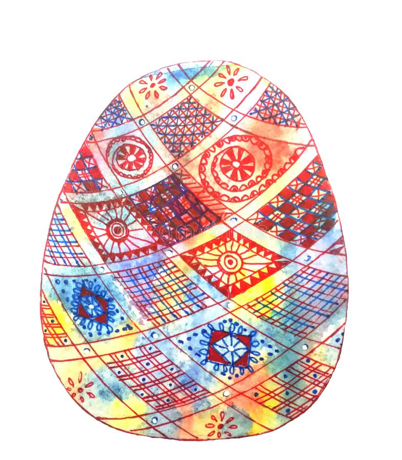 Easter red and blue egg decorated with checkered pattern vector illustration