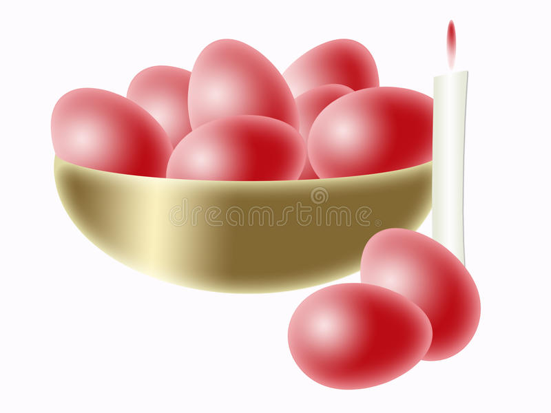 Easter red  eggs in bowl
