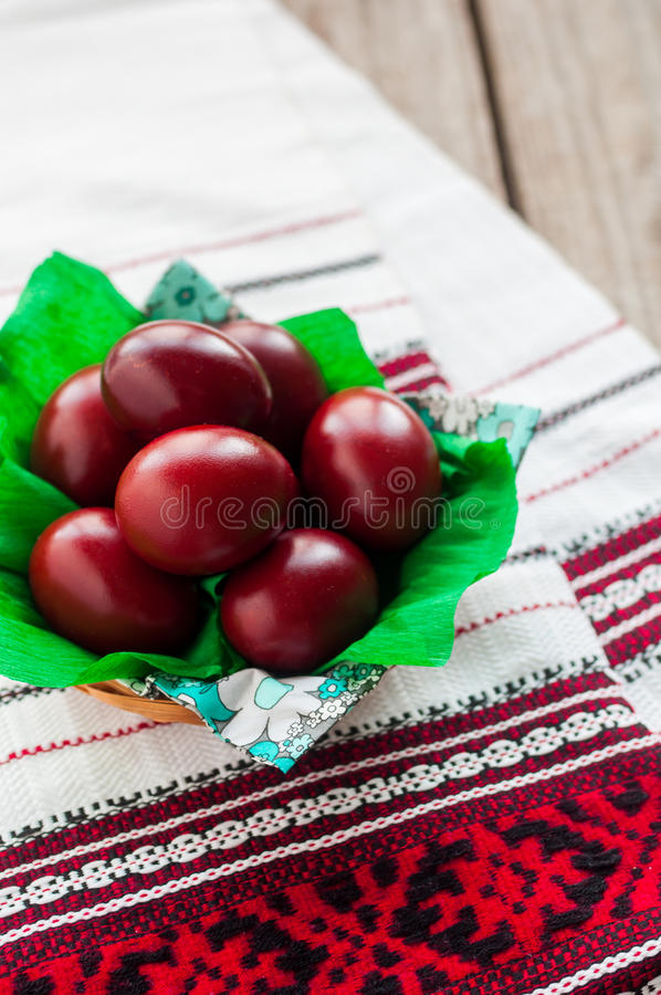 Easter Red Onion Dyed Eggs stock images