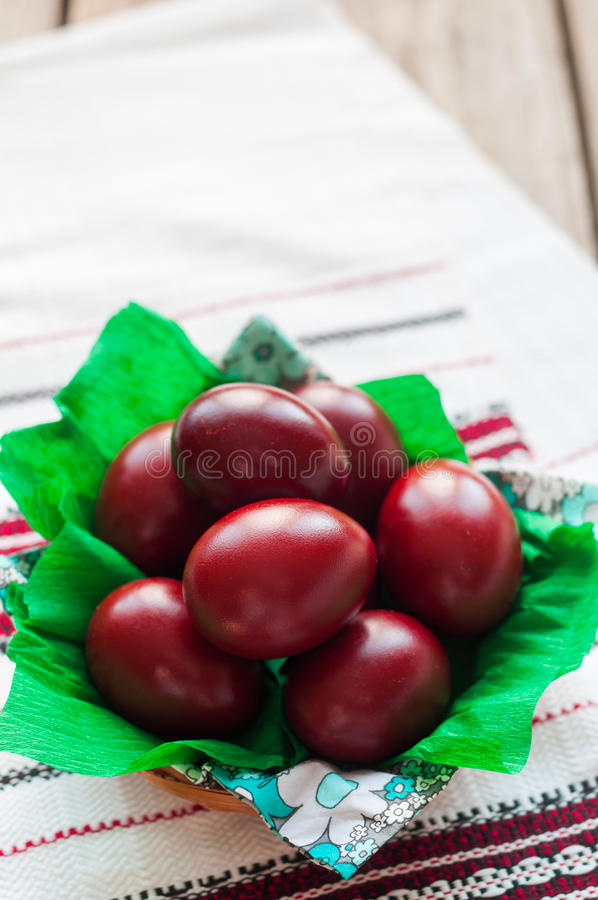 Easter Red Onion Dyed Eggs royalty free stock photo