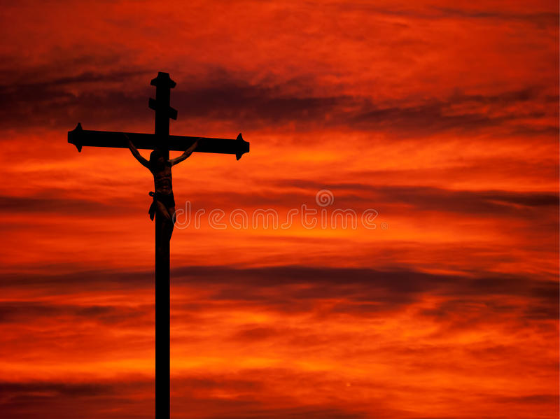 Download Easter Religious Background - Crucifixion And Sunset Red Sky Stock Photo - Image: 36313870