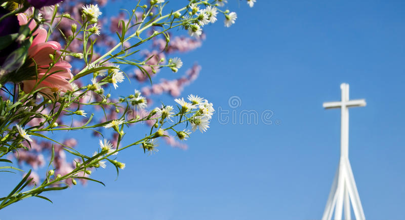 Easter resurrection - spring blossom and cross royalty free stock images