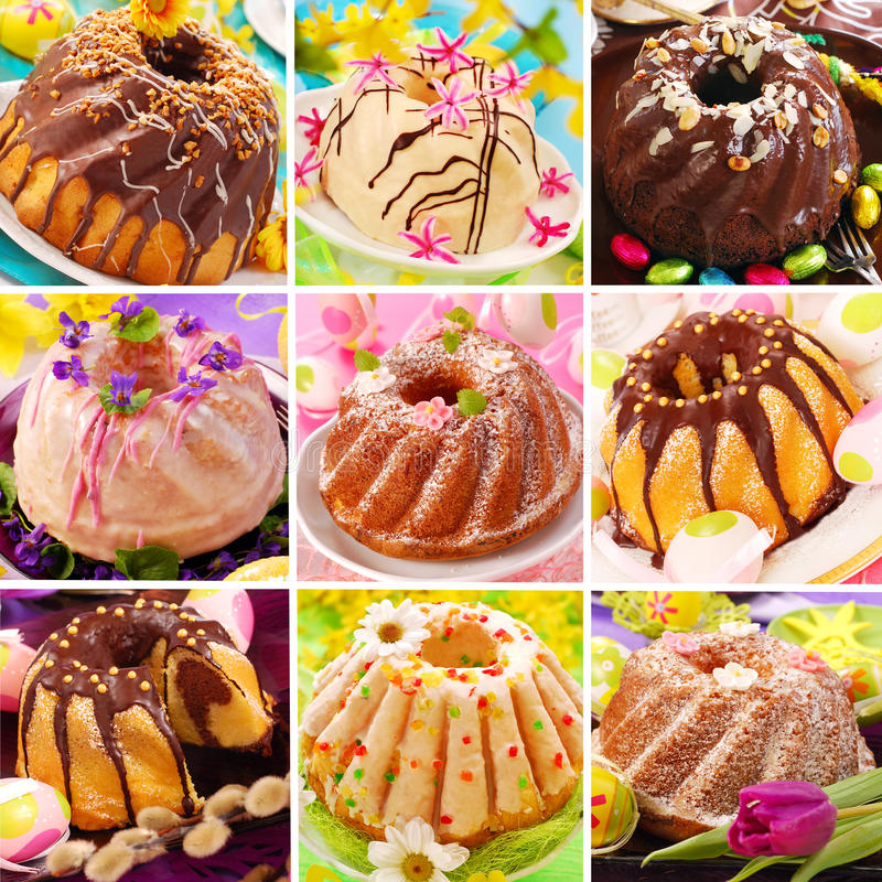 Easter ring cakes collection stock images