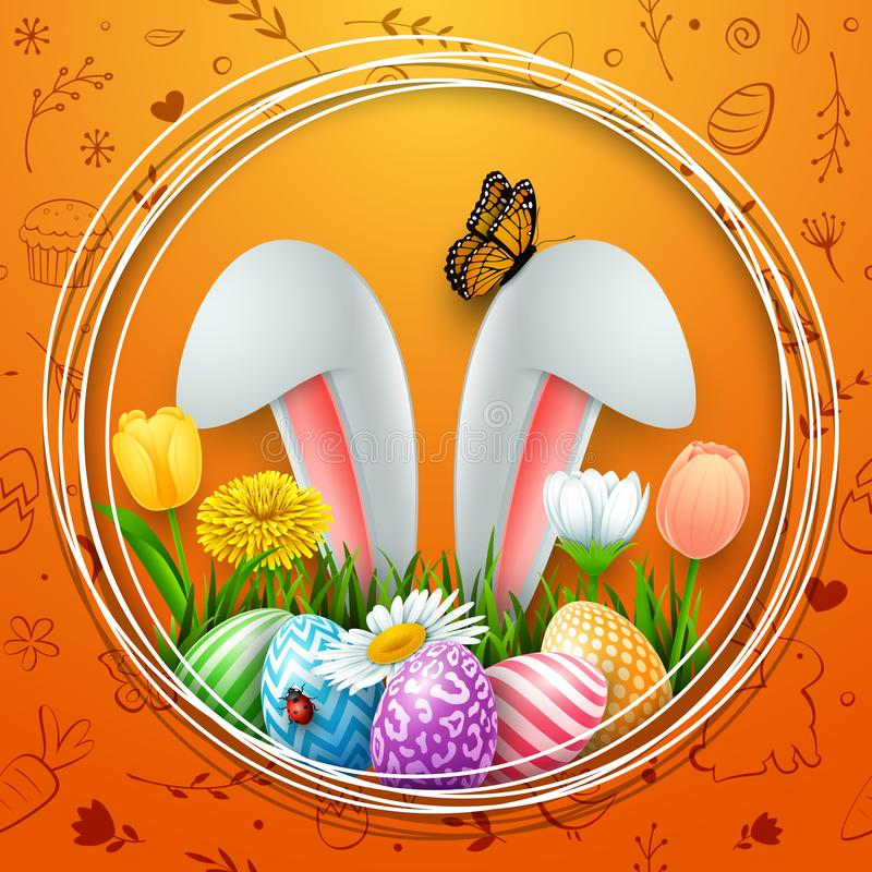 Easter round frame with colorful eggs, bunny ears, flowers, grass, and insects on cute doodle background stock illustration