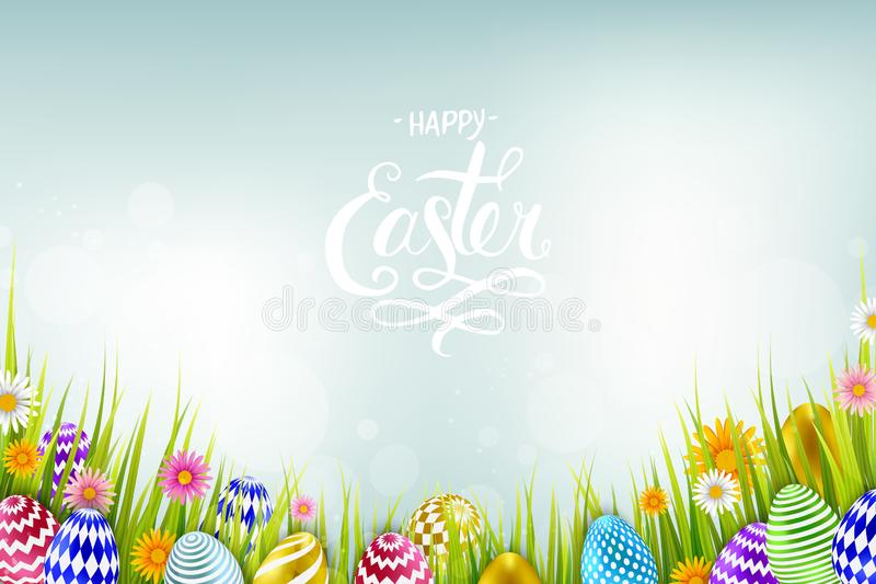 Easter sale banner background template with beautiful colorful spring flowers and eggs. Vector illustration stock illustration